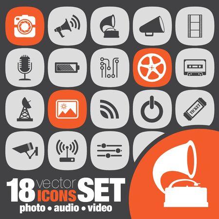 audio video: photo audio video icon set