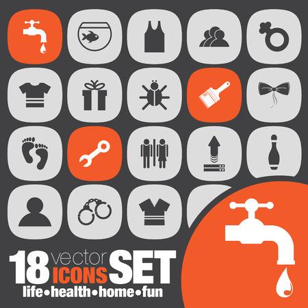 handcuffs female: life health home fun icon set