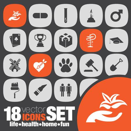 life health home fun icon set Vector