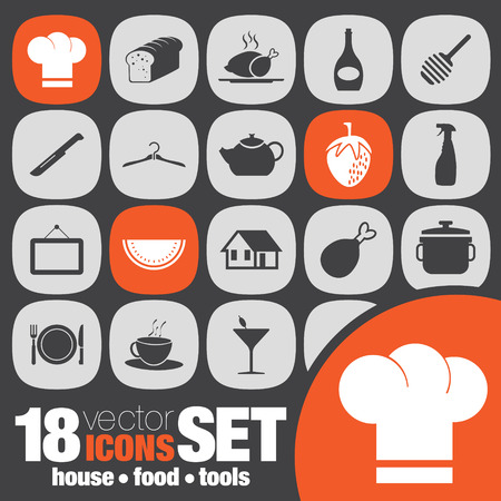 house food tools icon set Vector