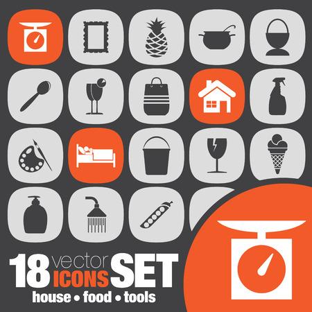tools icon: house food tools icon set