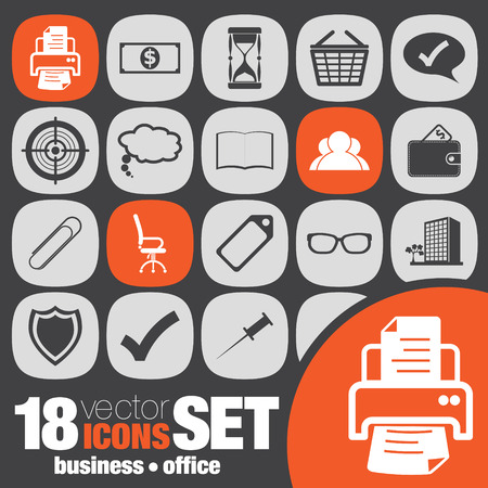 business office icon set Vector