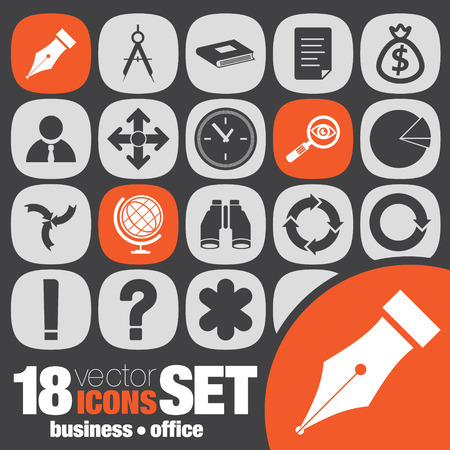 business office icon set