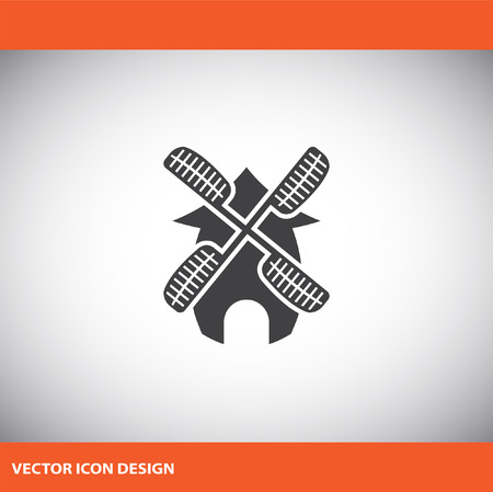 traditional windmill: windmill vector icon
