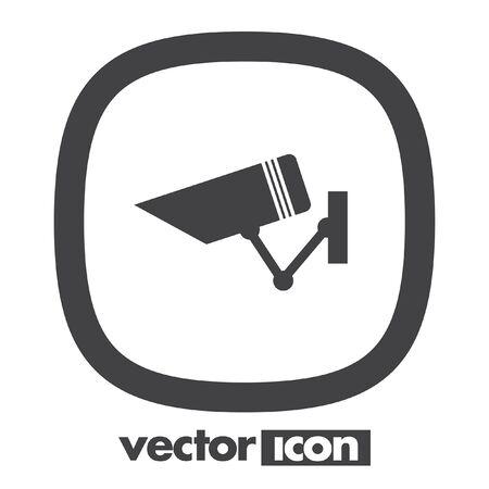 monitored: security surveillance camera vector icon Illustration