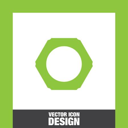 bolt head: nut vector icon Illustration