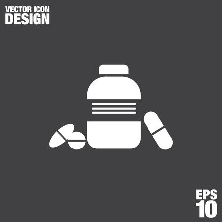 prescription bottles: bottle with pills vector logo icon
