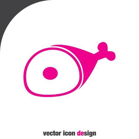 roast pork: ham vector icon