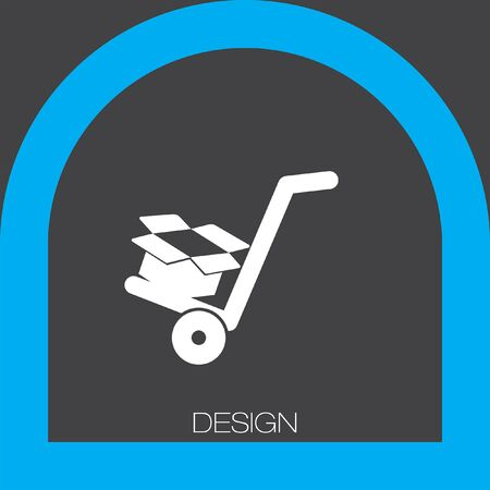 relocate: manual cart with cardboard box icon