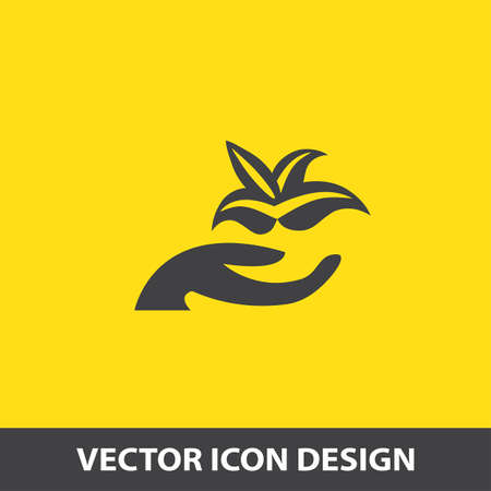 green life: hand holding plant vector icon