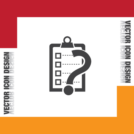 question icon: check list with question mark vector icon