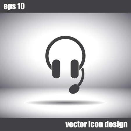 helpline: headphones headset vector icon Illustration