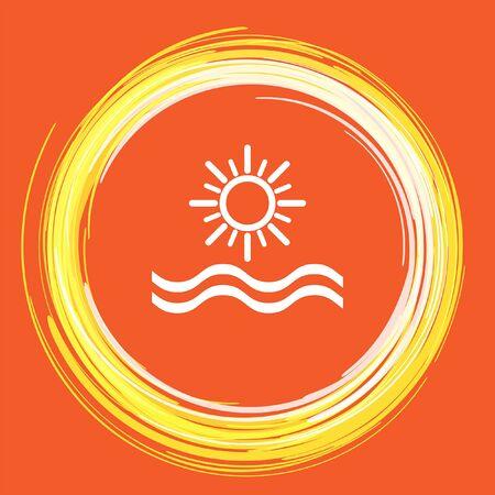 sunset beach: sun and sea vector icon