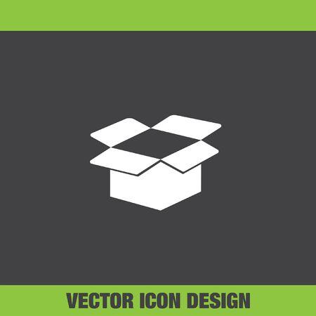 box open: cardboard box open vector icon Illustration