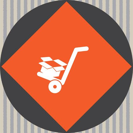 relocate: manual cart with cardboard box vector icon
