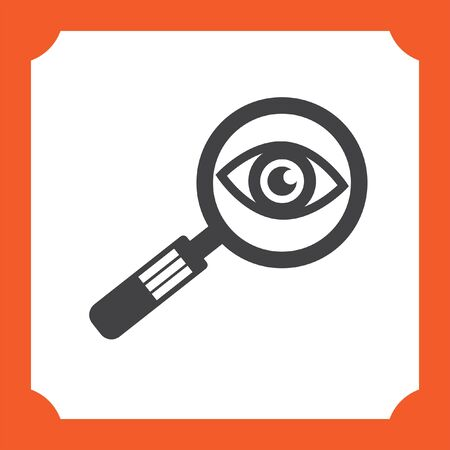 magnifying glass icon: magnifying glass and eye vector icon