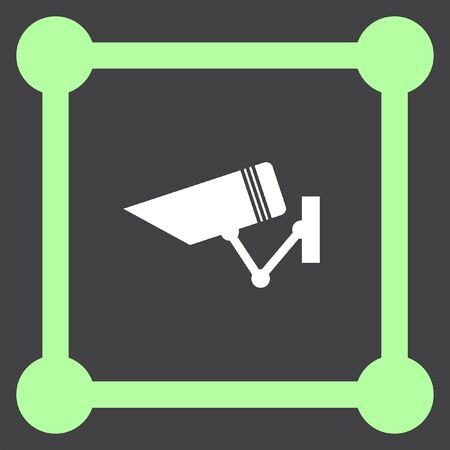 monitored: security surveillance camera vector icon Illustration