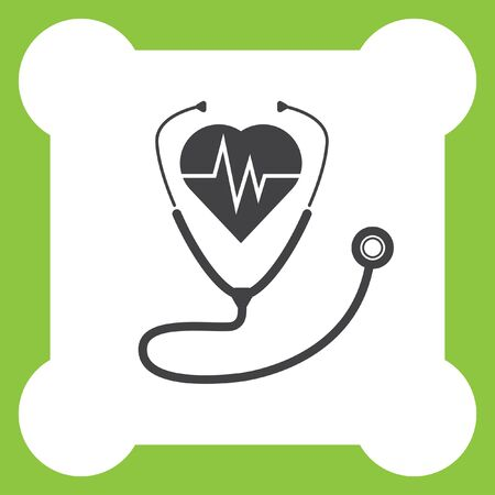 stethoscope icon: stethoscope with heartbeat vector icon