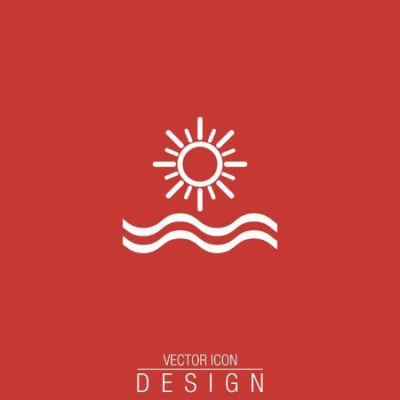 sun beach: sun and sea vector icon