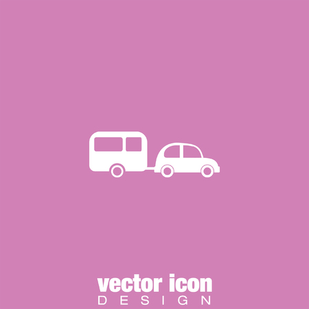 holiday background: car and trailer vector icon Illustration