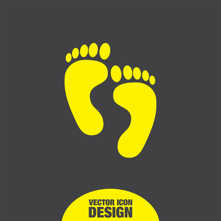 barefoot walking: footprint vector icon