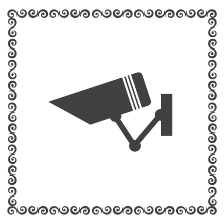 monitored area: security surveillance camera vector icon Illustration