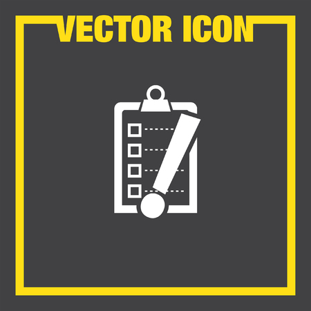 task list: check list with exclamation mark vector icon