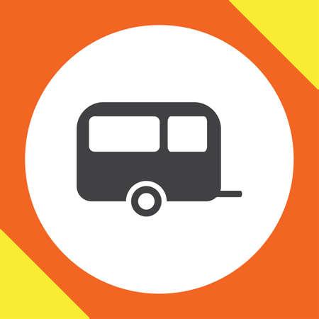 trailer: camping trailer vector icon