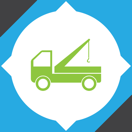 truck road: truck crane icon Illustration
