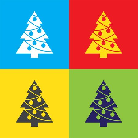 tree ornaments: christmas tree vector icon Illustration