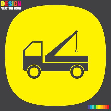 truck crane: truck crane icon Illustration