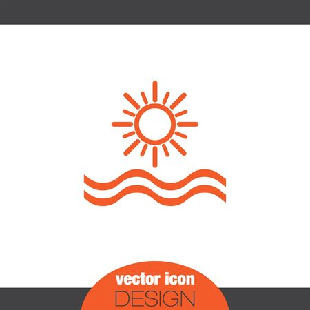sunset beach: sun and sea vector icon