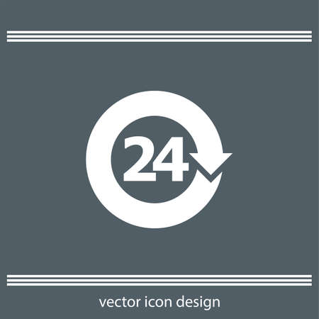 24: open 24 hours icon Illustration