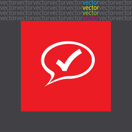 yes communication: speech bubble and ok sign icon