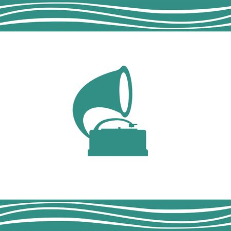 antique phonograph: gramophone vector icon