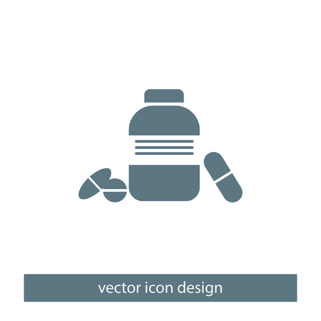 medicament: bottle with pills vector logo icon