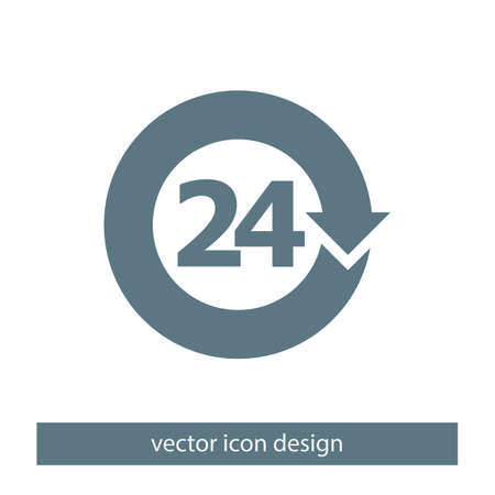 hours: open 24 hours vector icon