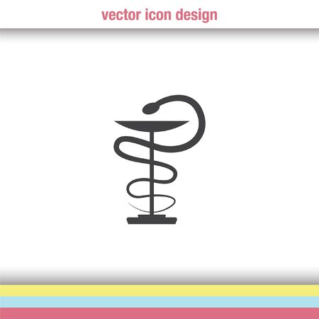 caduceus snake with stick: pharmacy snake symbol vector icon