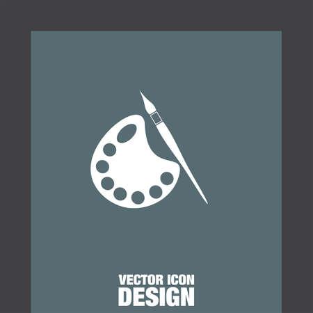 pallete: paintbrush with pallete vector icon Illustration
