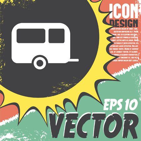 rv: camping trailer vector icon