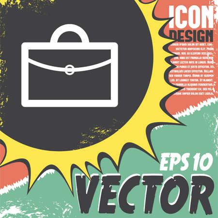 business suit: briefcase vector icon logo design Illustration