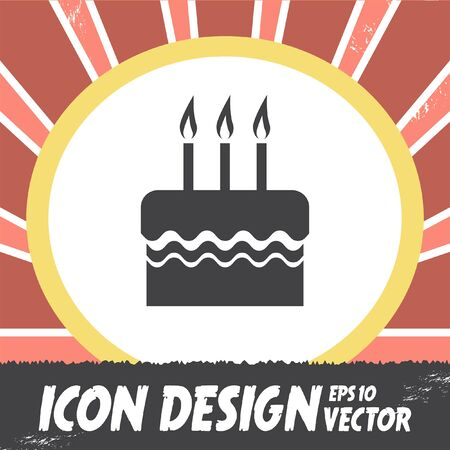 birthday candle: birthday cake vector icon Illustration
