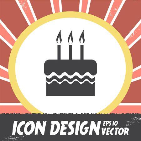 torta candeline: torta di compleanno vettore icona Vettoriali