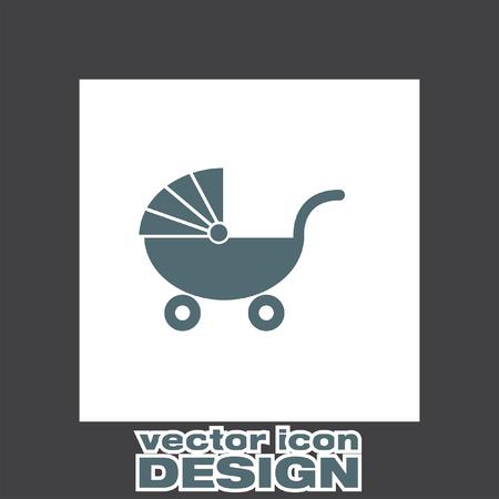 perambulator: pushchair vector icon