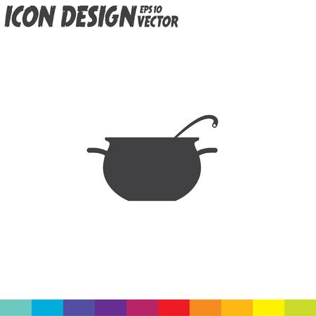 stew pot: cooking pot vector icon