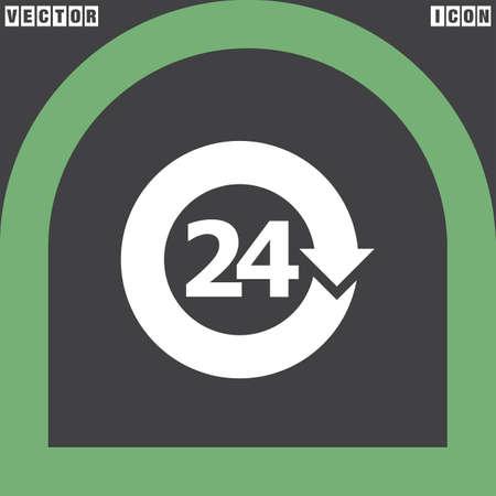 around the clock: open 24 hours vector icon