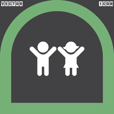 man and woman silhouette: boy and girl vector icon