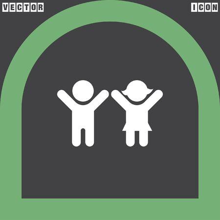 silueta niño: niño y niña vector icono