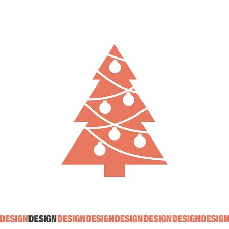 set symbols: christmas tree vector icon Illustration