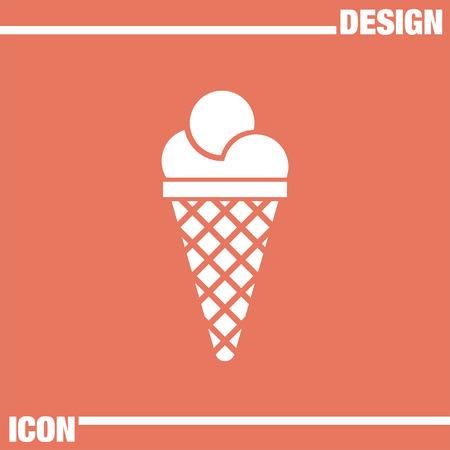 helado cucurucho: helado icono vector plana Vectores